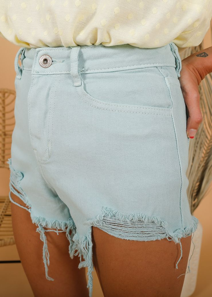 SHORT DENIM DESFLECADO VERDE AGUA