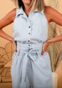 CONJUNTO ESTILO DENIM TOP BROCHES CON CULOTTE