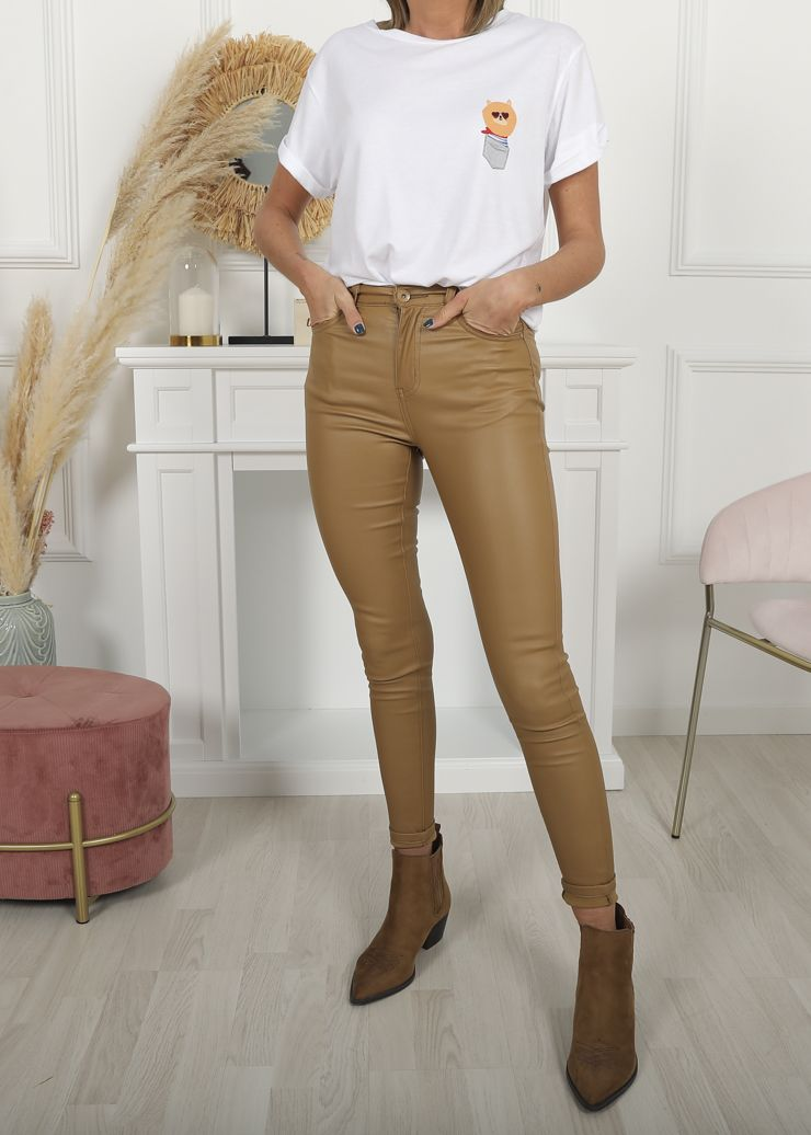 PANTALON ENCERADO PUSH UP CAMEL