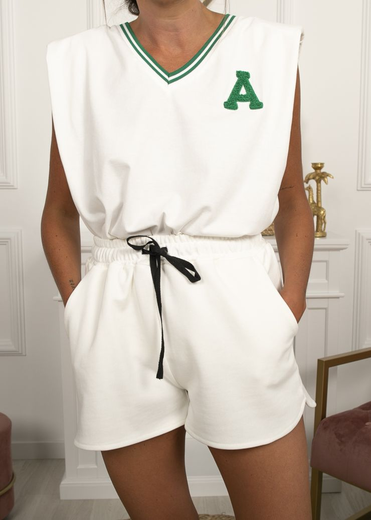 CAMISETA RUGBY BLANCA INICIAL A VERDE
